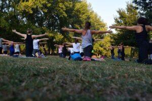 Outdoor yoga class denver luxury home
