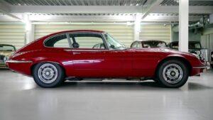 Red car inside a luxury garage